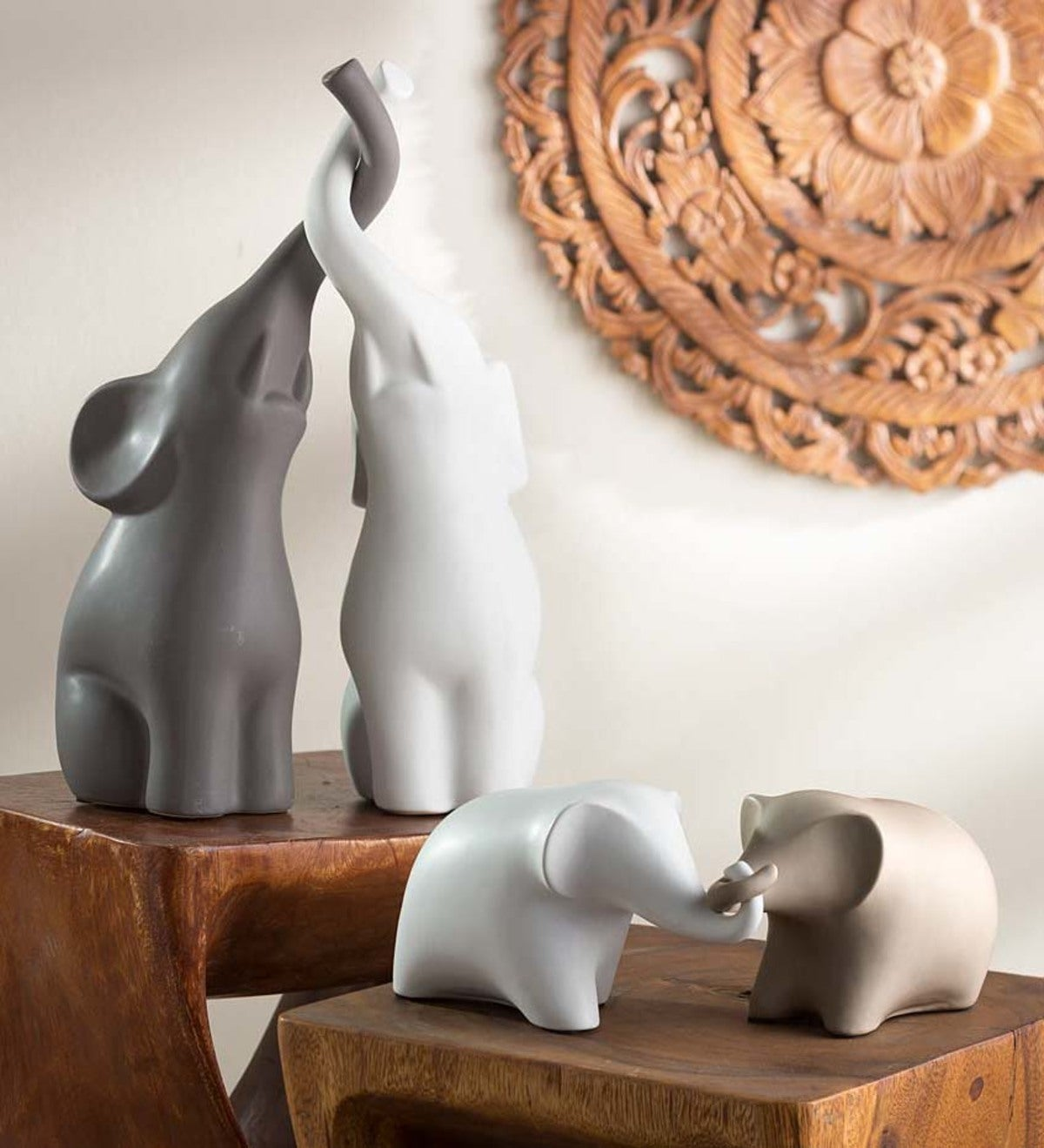 Loving Intertwined Ceramic Elephant Sculptures