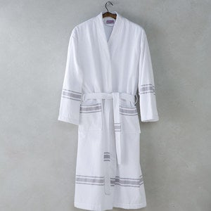 Turkish Cotton Terry Lined Stripe Robe - One Size Fits Most
