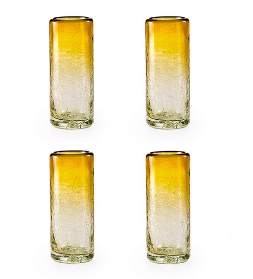 Maya Recycled Shot Glass, Set /4 - Amber