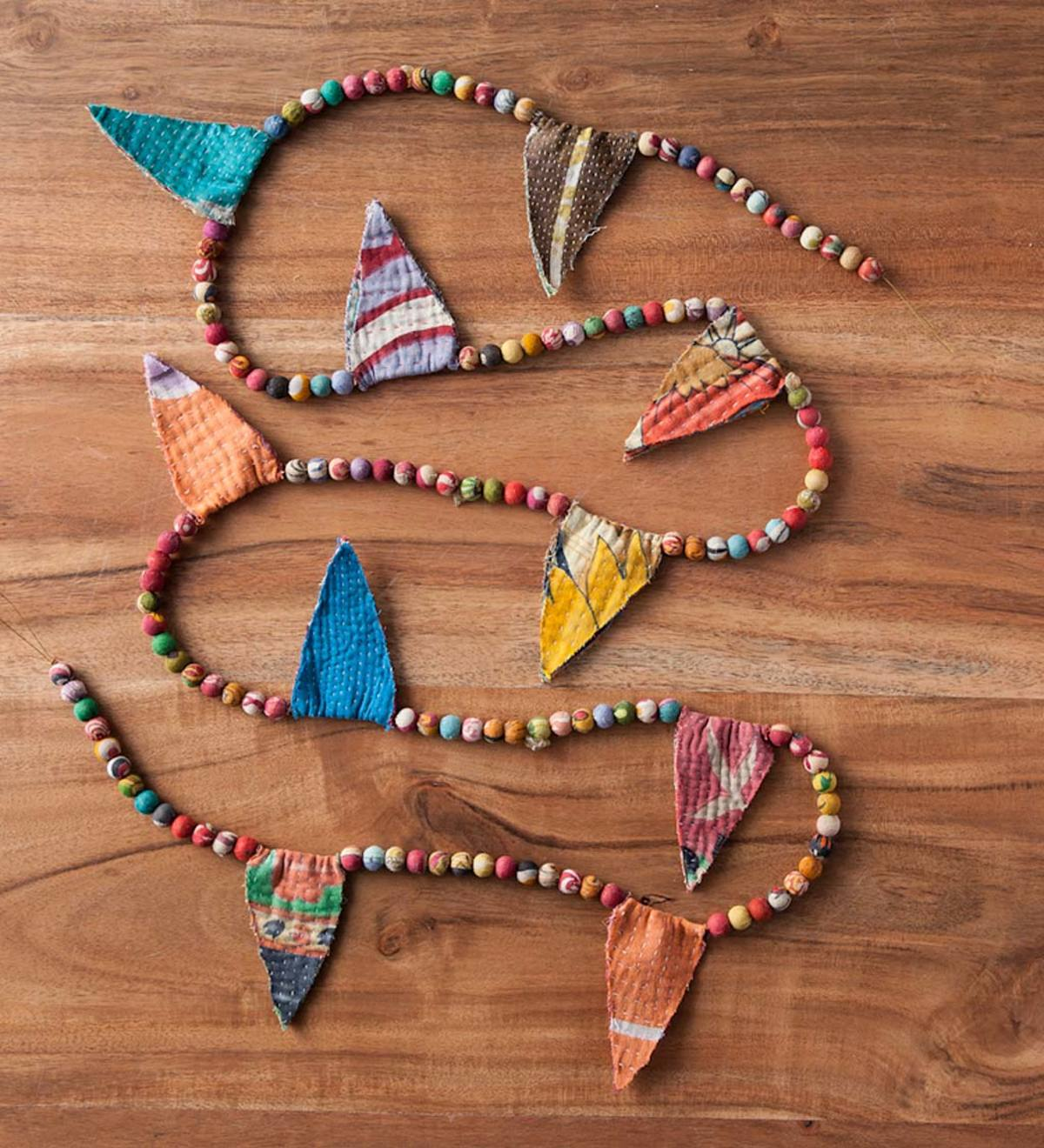 "Small Round Sari Bead Garland with Flags - 72""L"
