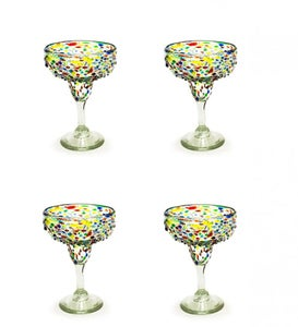 Confetti Recycled Margarita Glass, Set of 4