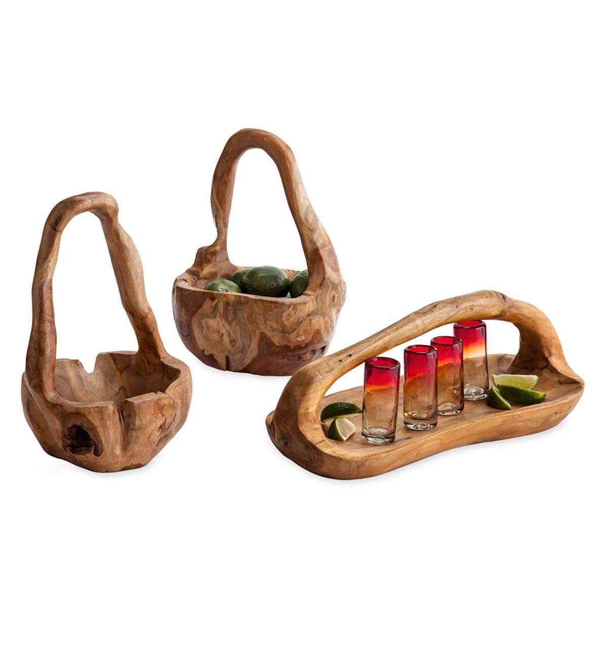 Teak Root of the Earth Handcrafted Baskets