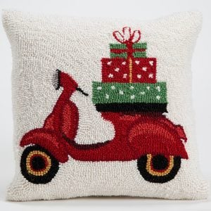 "Red Wagon Hand-Hooked Wool Pillow, 18""L x 14""H - Red Car"