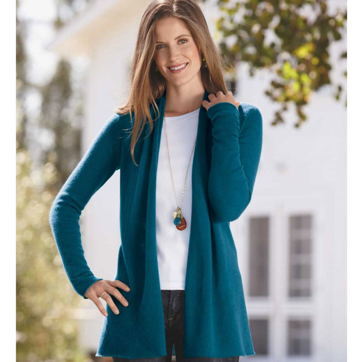 Lightweight Cashmere Duster Cardigan - Blue - L (12-14)