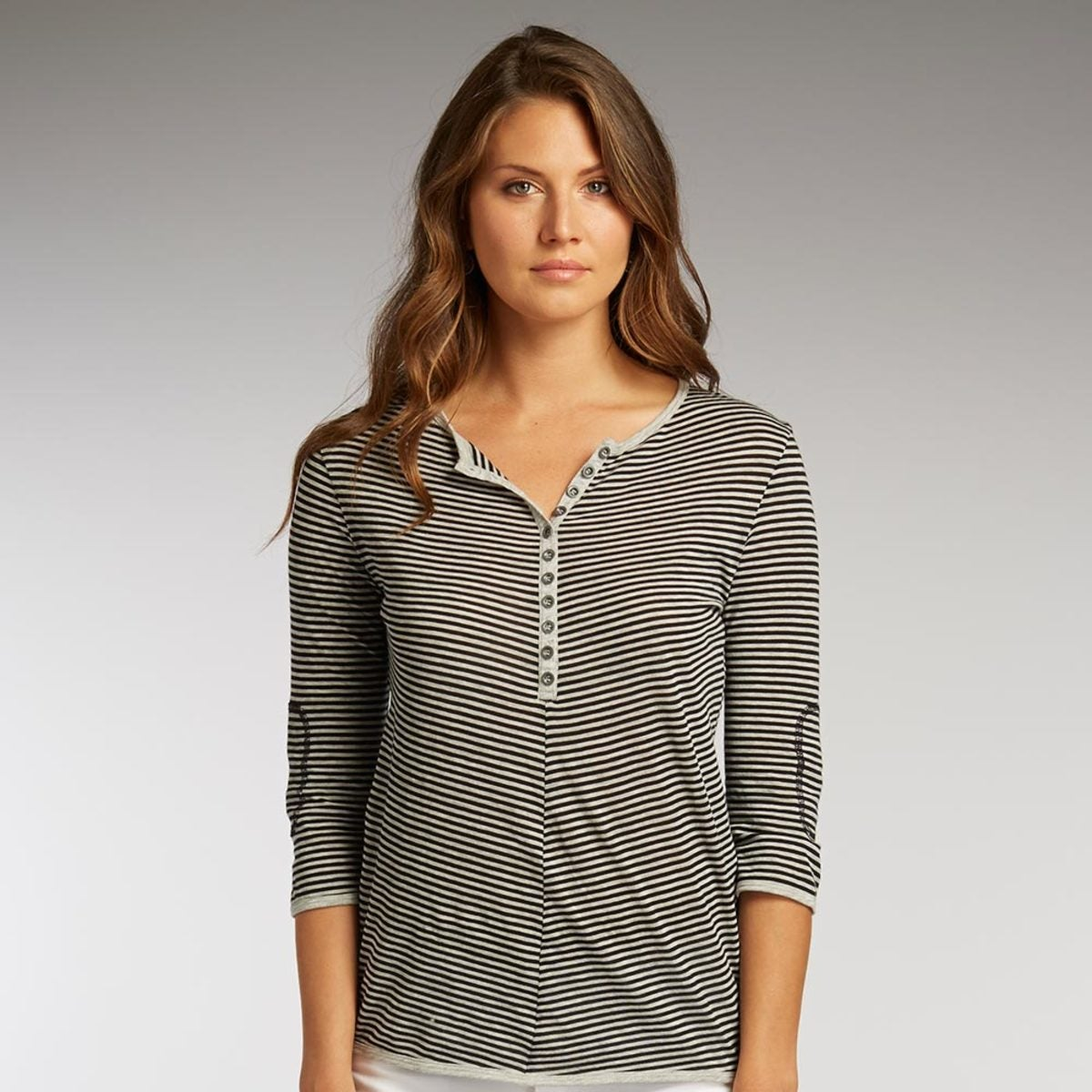 Organic Cotton Stripe Half-Button Henley - Silver - Extra Small