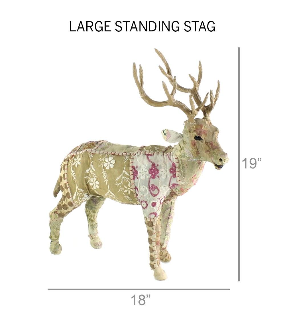 Upcycled Kantha Deer Standing Stag Large Vivaterra