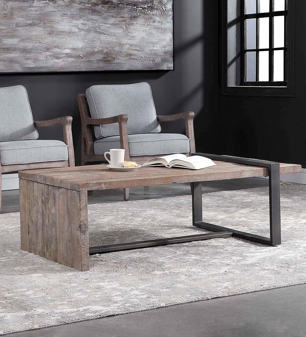 Gray Industrial Farmhouse Coffee Table Vivaterra