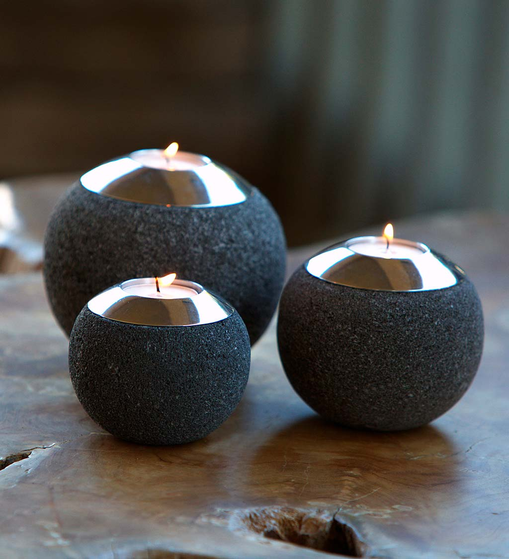 Lava Stone Tealight Holders, Set of 3