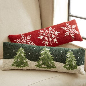 Red Snowflakes Hooked Wool Lumbar Pillow