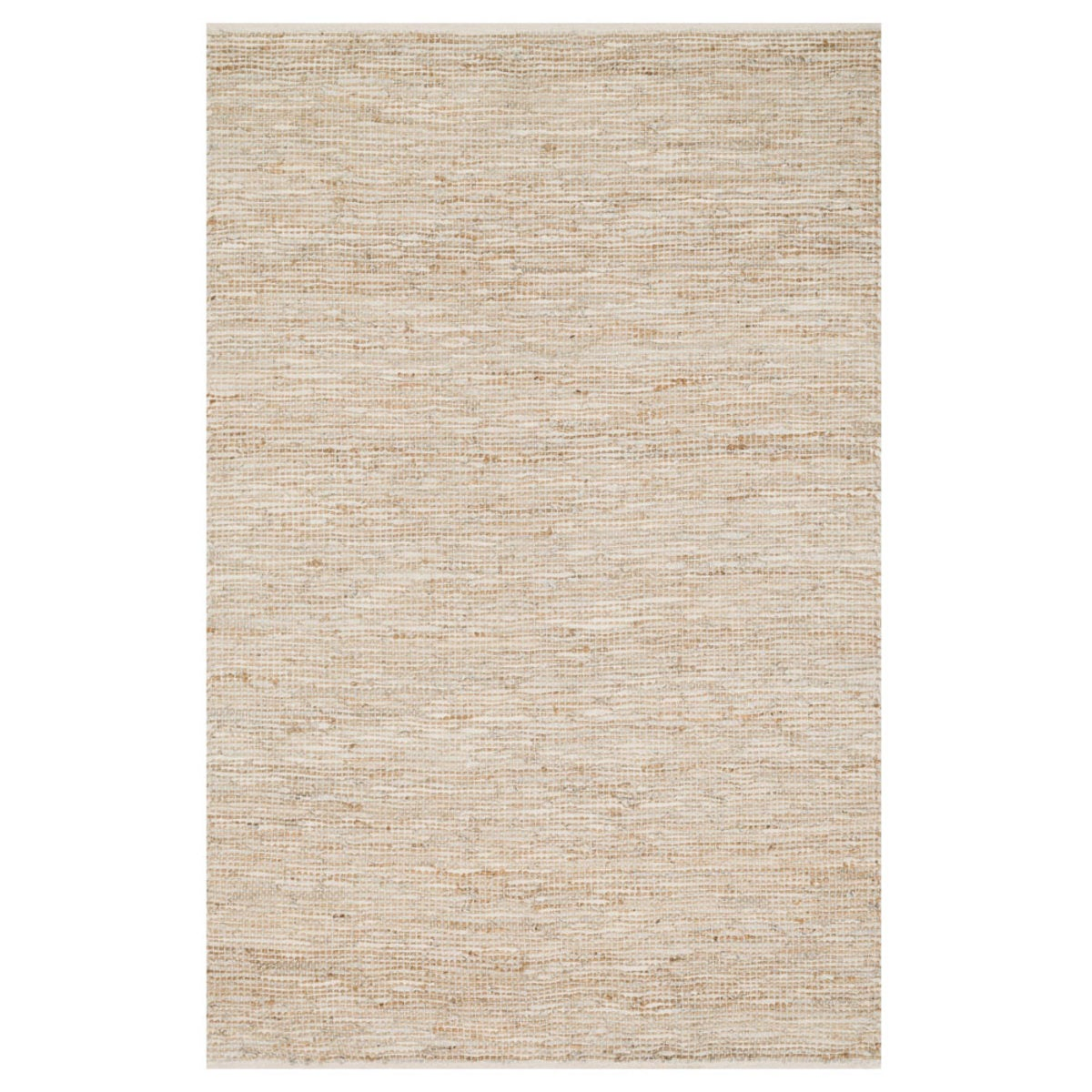 "Loloi Edge Leather & Jute Rug in Brown - 3'6"" x 5'6""  - Ivory"