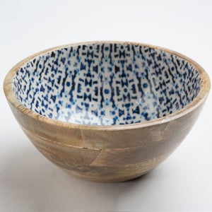 Jesse's Indigo Enamel Coated Mango Wood Medium Serving Bowl