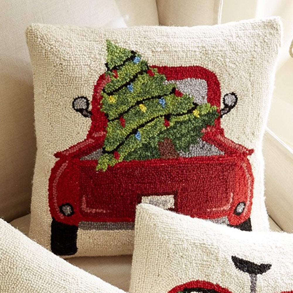 Tree in Truck Holiday Pillow