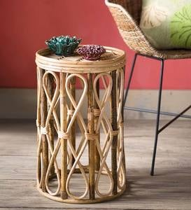 Open Rattan Drum Side Table