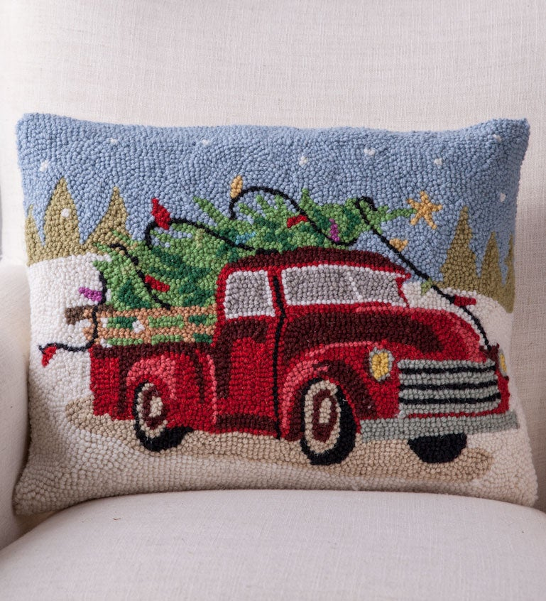 Hand-Hooked Wool Tree on Truck Pillow