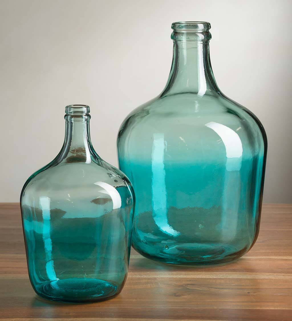 Ocean Blue Recycled Glass Vases
