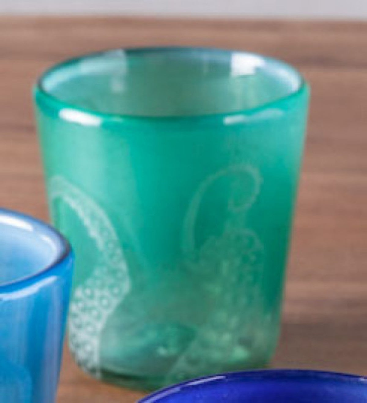 Hand-Etched Recycled Glass Small Octopus Tumblers - Set of 4 - Green