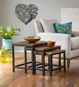 Iron and Reclaimed Wood Nesting Tables, Set of 3