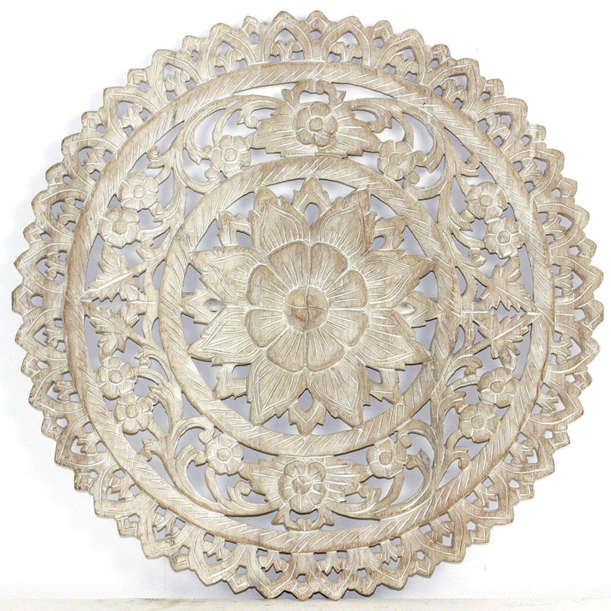 "Round Lotus Flower Wall Panel, 24"" dia. - White"