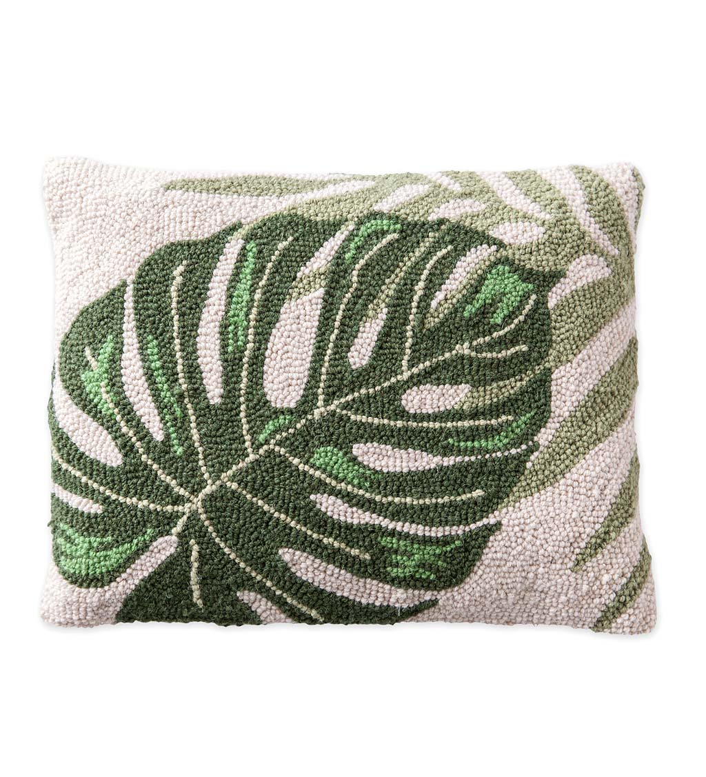 Hand Hooked Tropical Leaf Pillow 18x14 Vivaterra