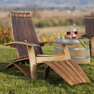 Wine Barrel Adirondack Chair and Footstool