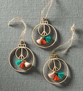 Peace Ornaments with Tassels, Set of 3