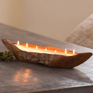 Handcrafted Teak Boat Candle