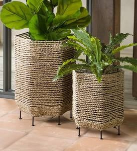 Seagrass Basket Planters with Iron Base