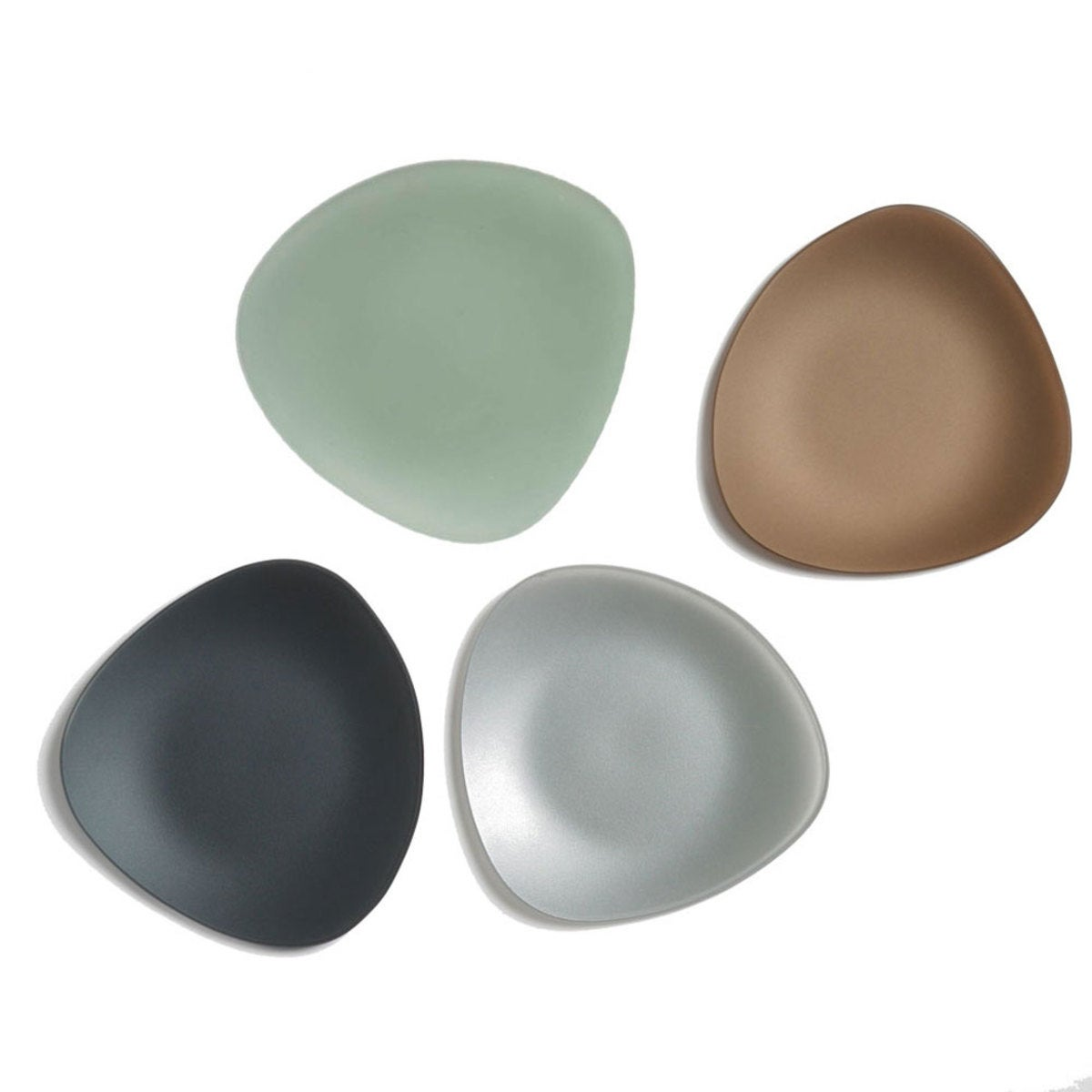 "SeaGlass Triangle Plates, 7"" - Set of 4 - Gray"