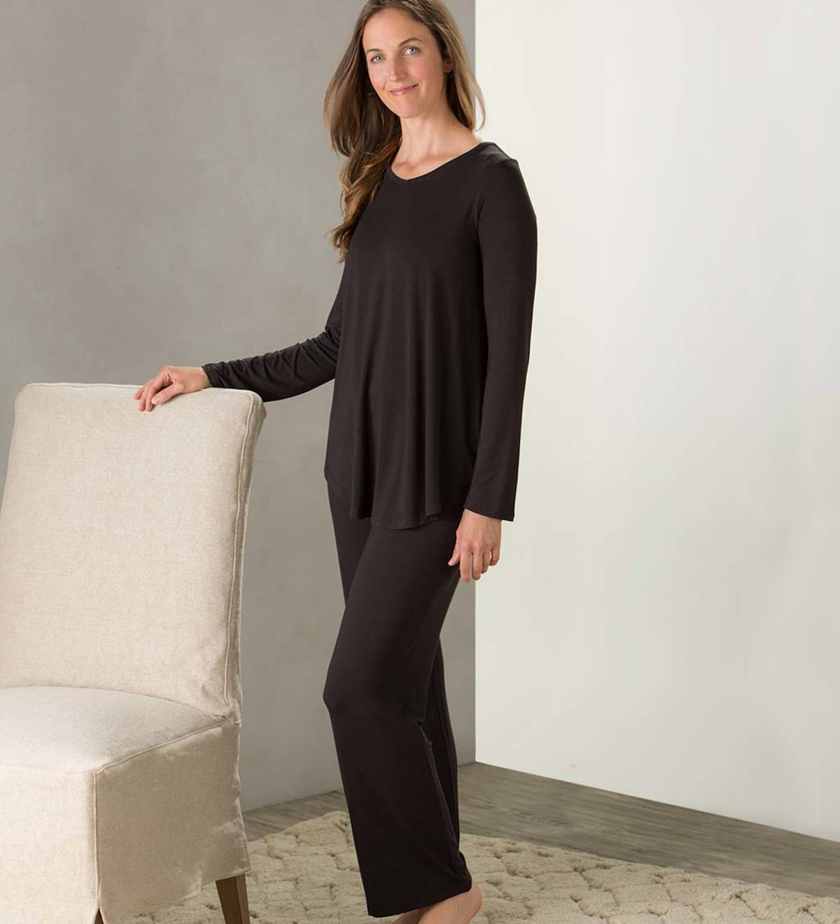 Eco Weave Long Sleeve Top and Ankle Pant Pajama Set