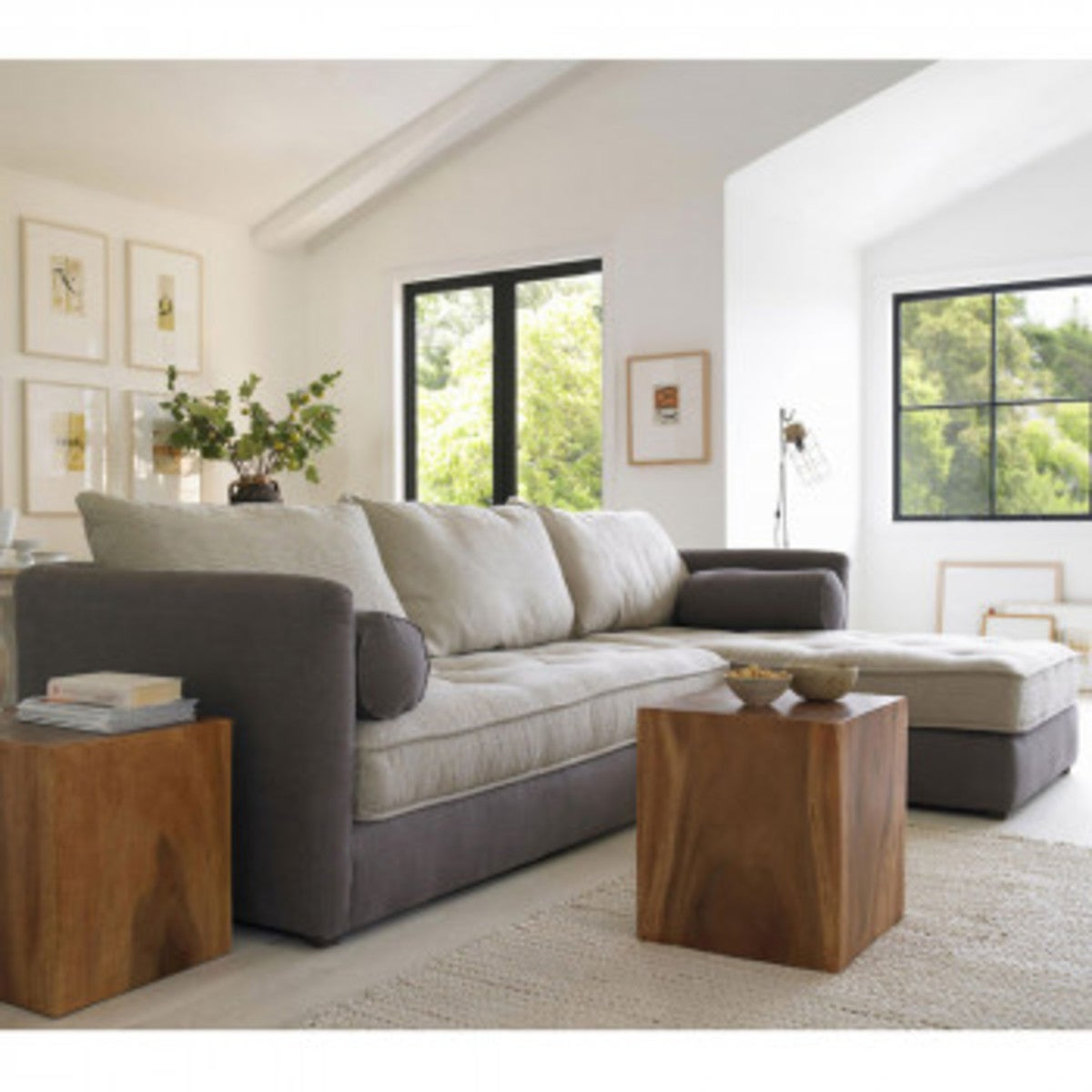 Eco Linen Sectional Sofa with Right Chaise - Moonstone Brussels Linen