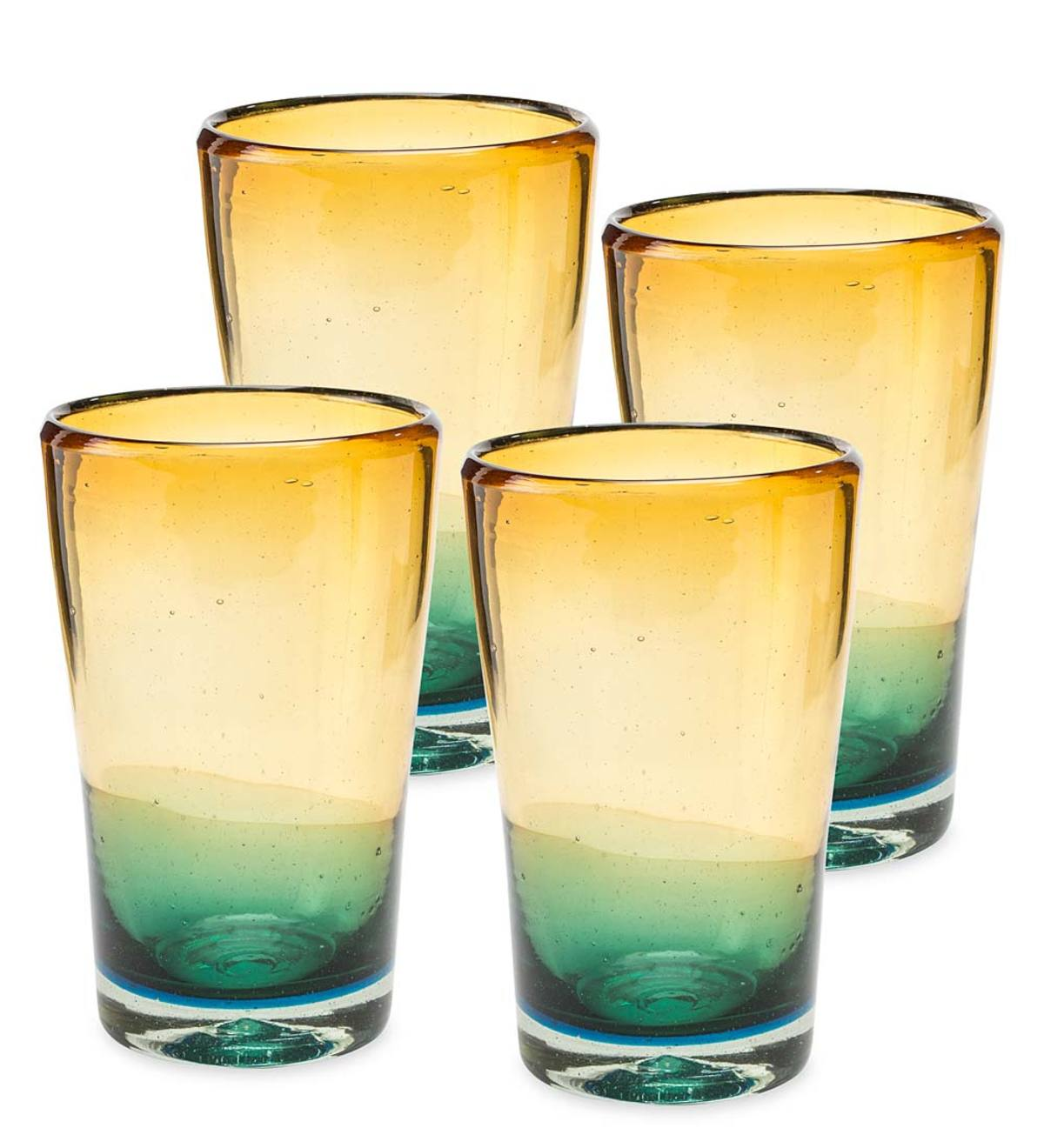 Golden Shore Recycled Glass Tall Glasses, Set of 4