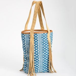 Handwoven Leather Fringe Patterned Tote - Blue