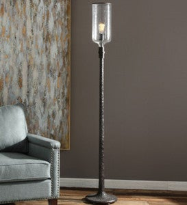 Distressed Industrial Iron Floor Lamp