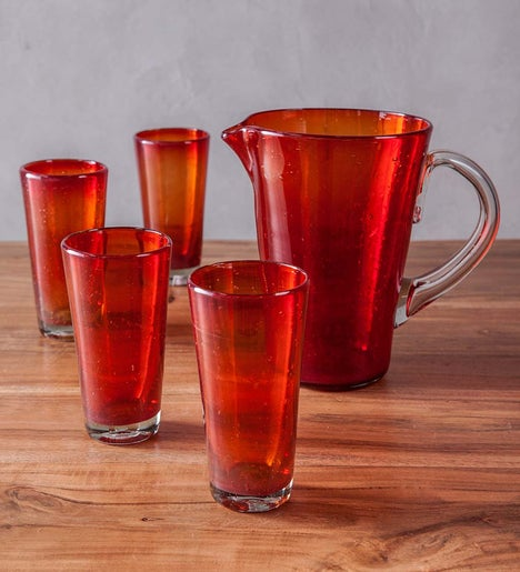 Bright Bubbled Recycled Glass Iced Tea Drink Set