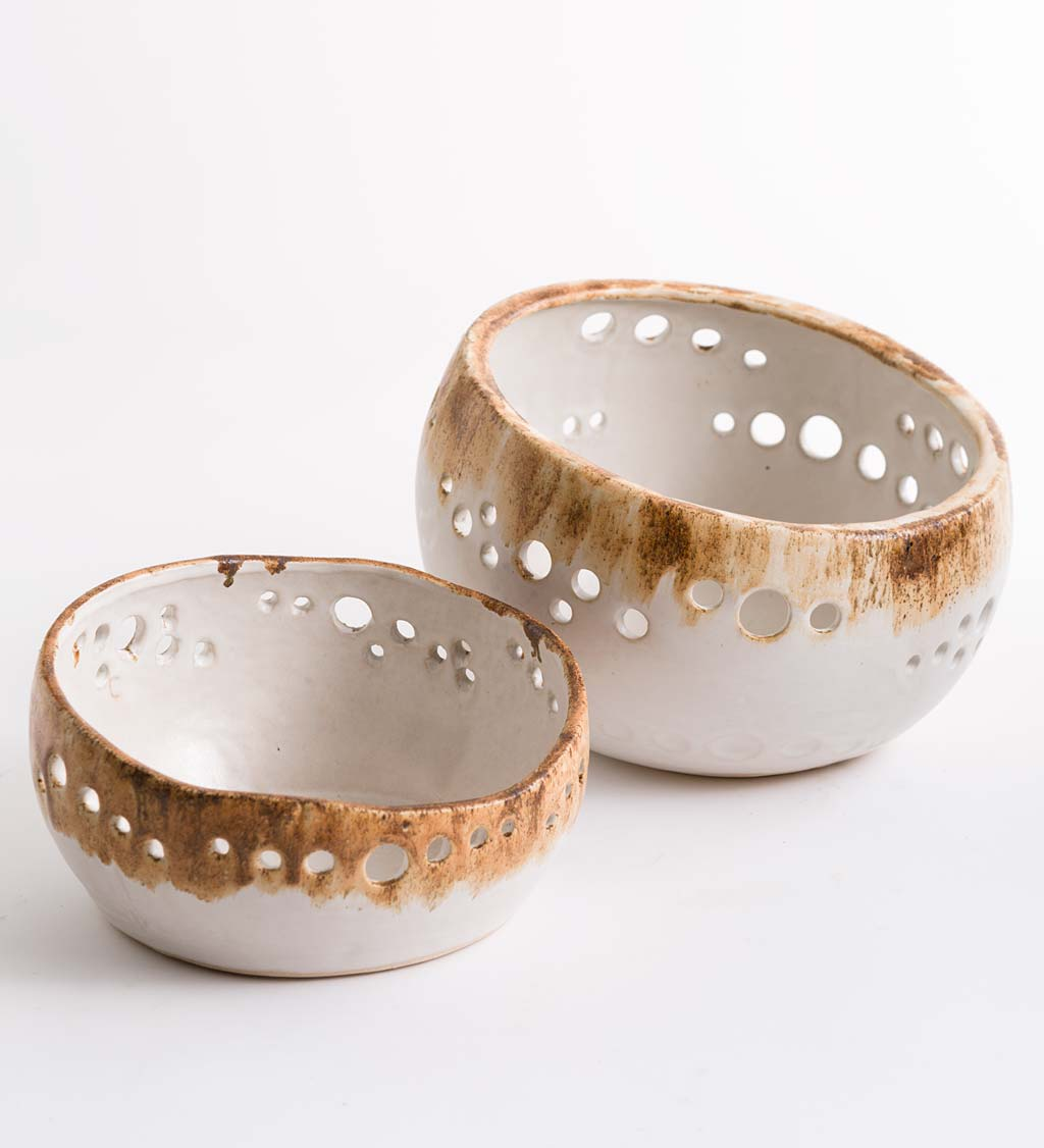 Ceramic Organic-Shaped Serving Bowls, Set of 2