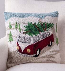 Hand-Hooked Wool Tree on Van Pillow
