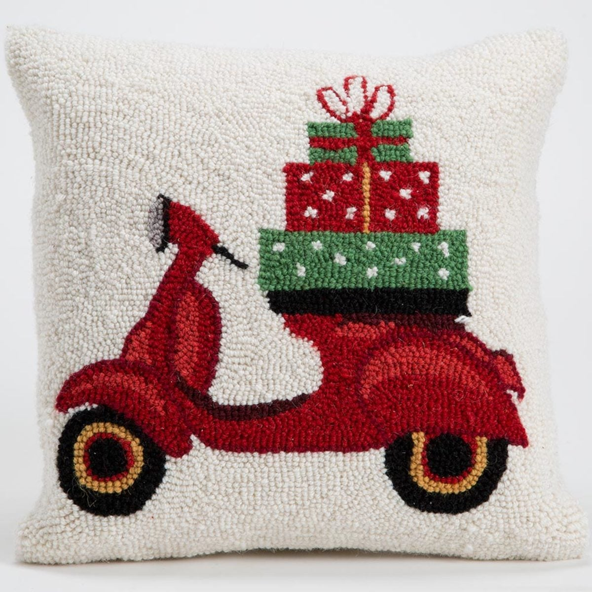 "Hand-Hooked Wool Pillow, 16"" sq."