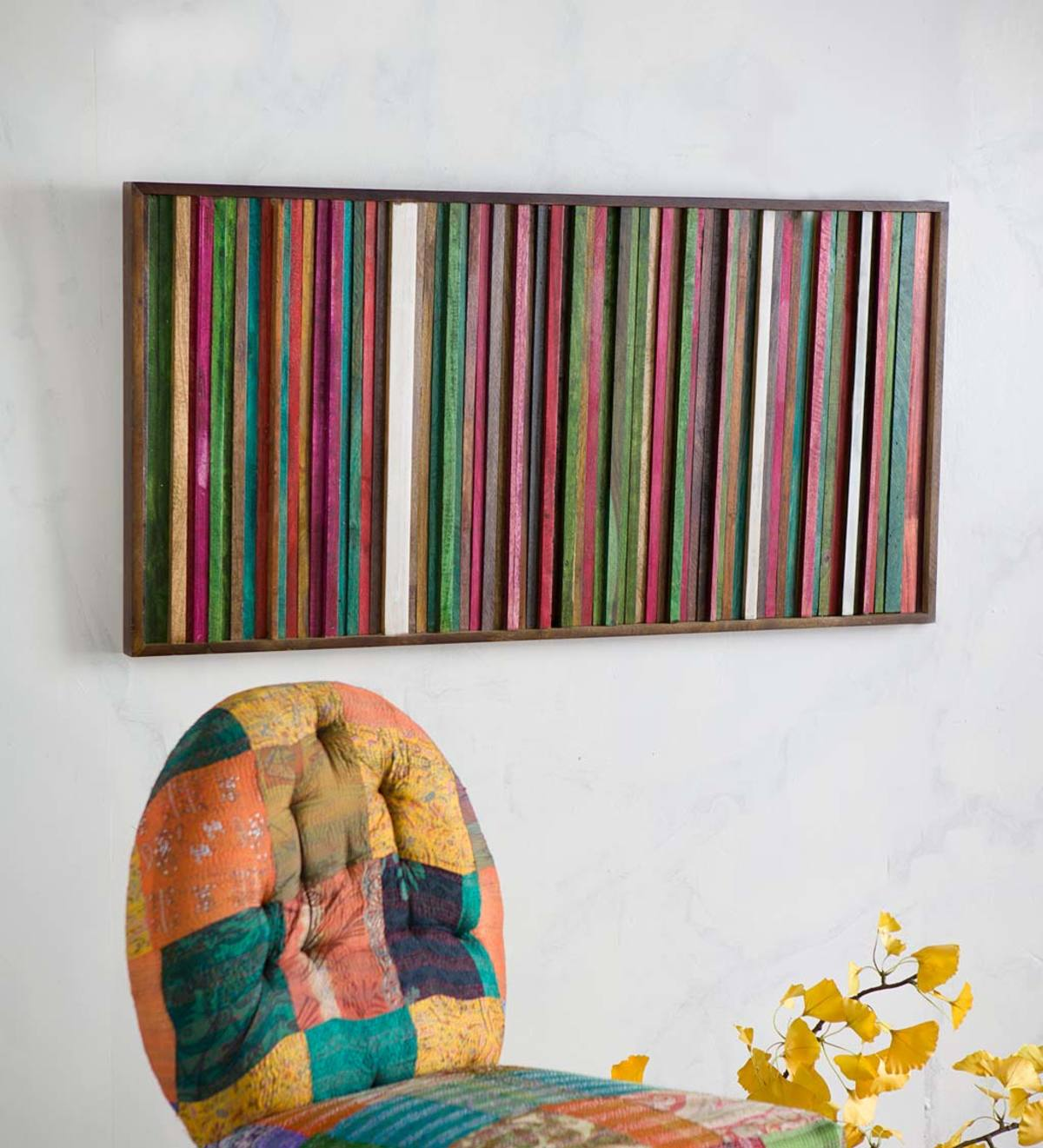 Hand-Stained Bright Stripe Mango Wall Art