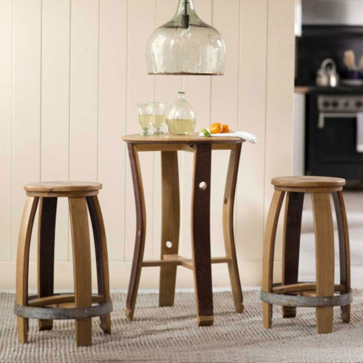 Barrel Stave Set of Table and 2 Stools