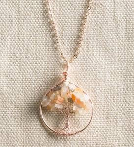 Tree of Life Necklace- Moonstone and Rose Gold