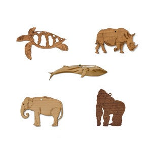 Mini Animal Ornaments, Set of 5