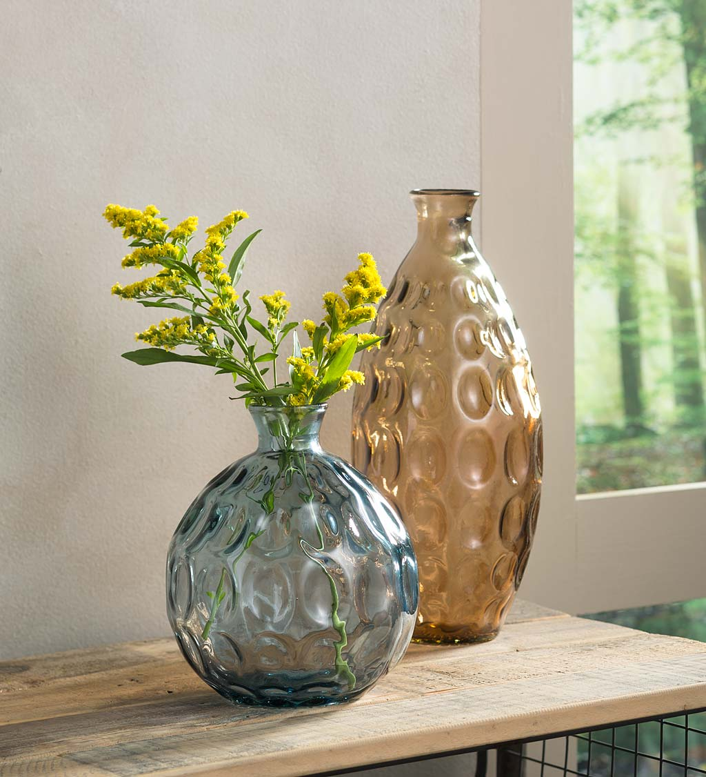 Dune Recycled Dimpled Glass Vases, S/2
