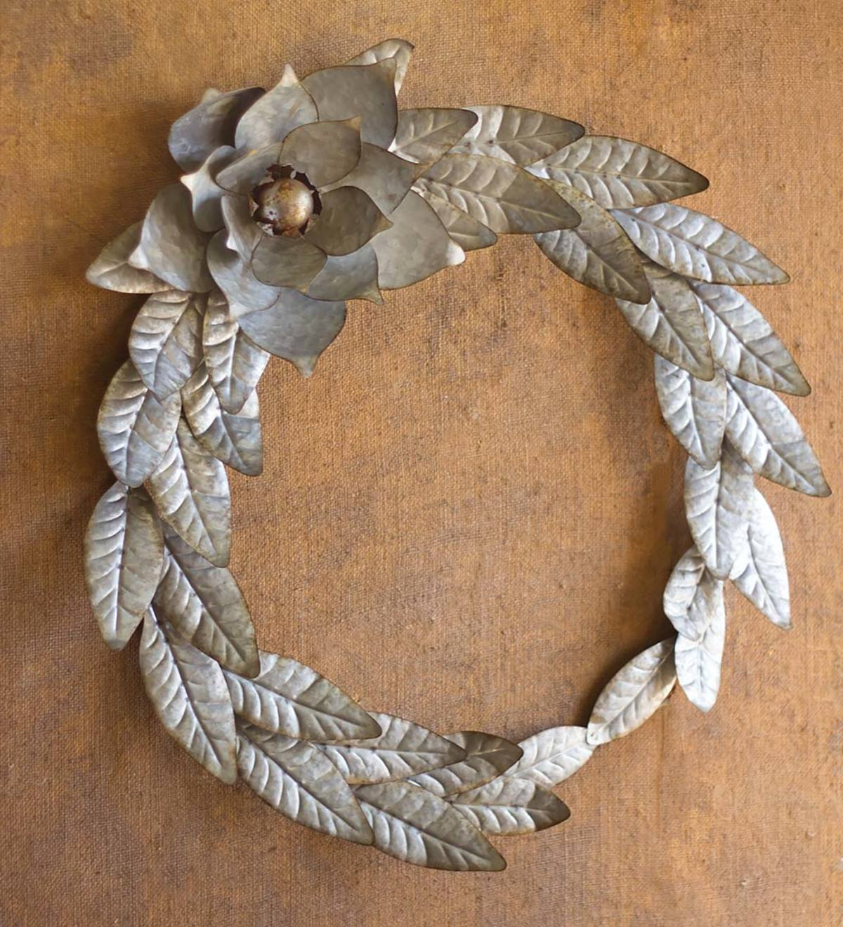 Galvanized Metal Farmhouse Magnolia Wreath