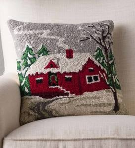 Hand-Hooked Snowy Winter Cabin Pillow