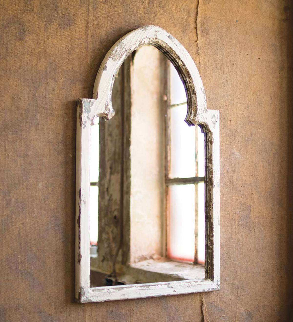 Rustic White Wood Arched Framed Mirror with Gold Accent