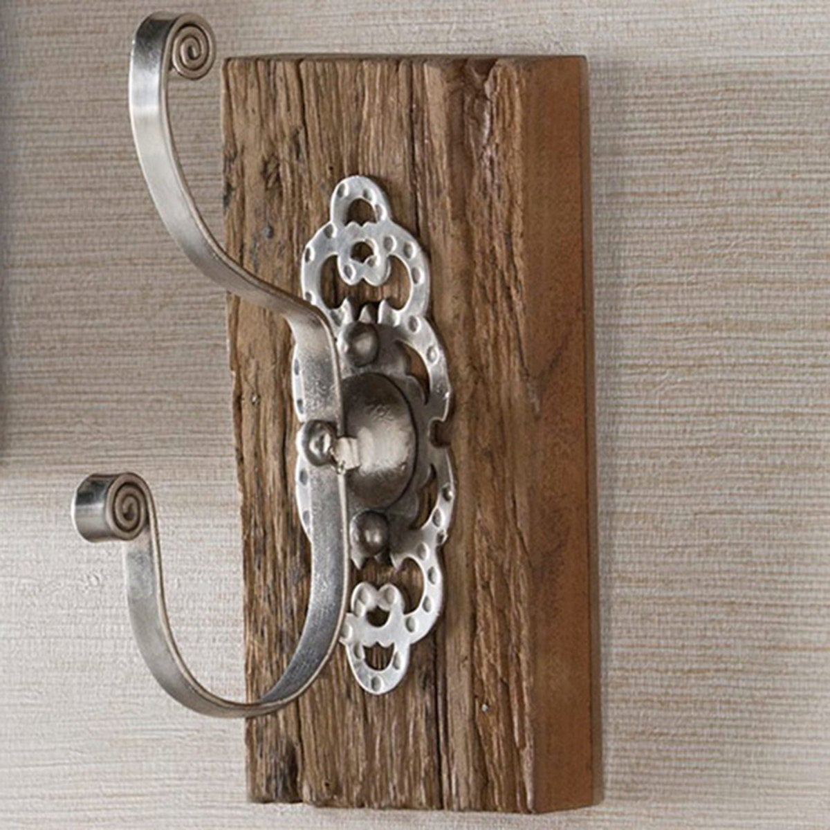 Antiqued Iron and Reclaimed Wood Wall Hook, Set of 2 - Dimpled