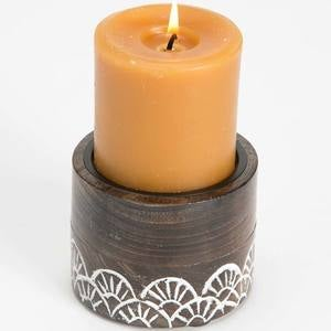 Handcarved Indian Rosewood Candle Holders