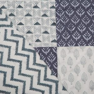 Blue Block-Printed Patchwork Mix Bedding Collection