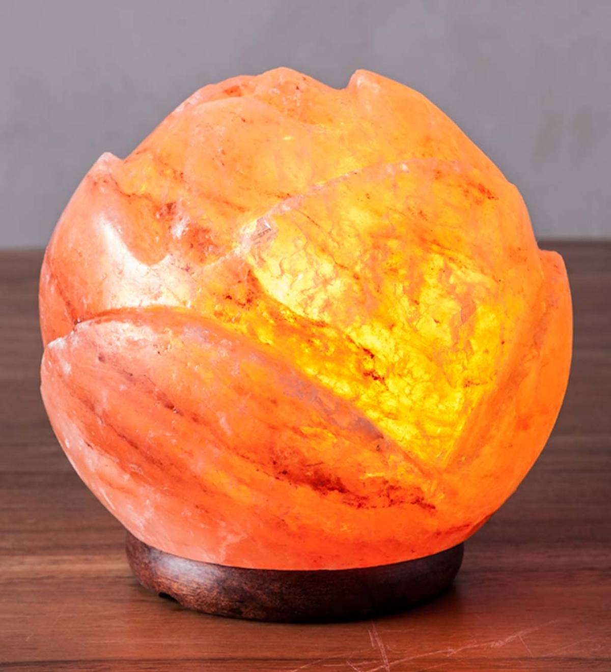 Round Lotus Himalayan Salt Lamp