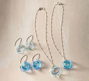 Recycled Wave Glass Earrings